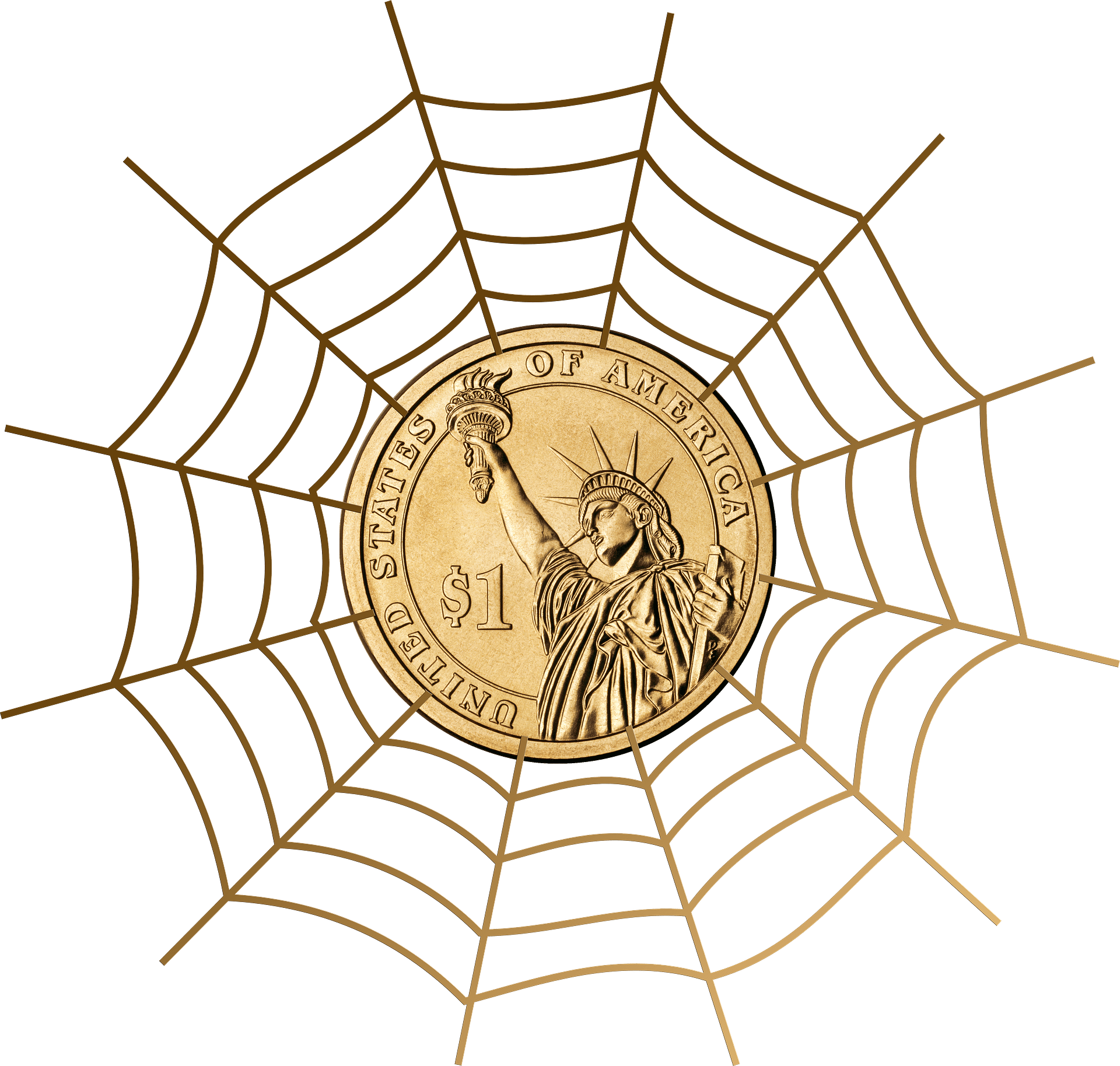 blog picture of spider web with a gold coin in the center